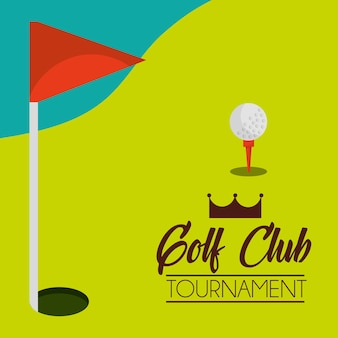 Golf club tournament course and red flag