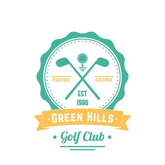 Golf club vintage logo, emblem, golf club sign, crossed golf clubs and ball,   illustration