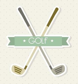 Golf clubs over beige background vector illutration