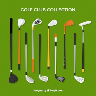 Golf clubs collection in flat style