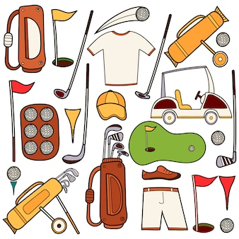 Golf color icons set in hand draw cartoon style