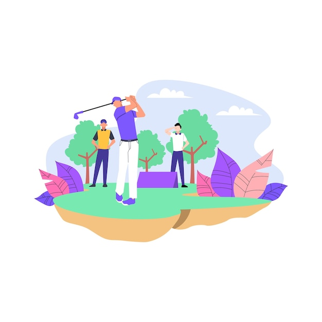 Golf competition flat illustration