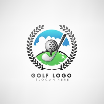 Golf concept logo template with laurel wreath