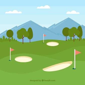 ゴルフコースの背景デザイン
