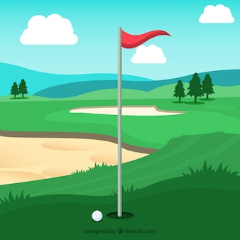 Golf course background in flat style