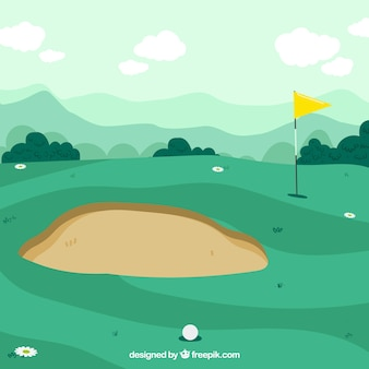 Golf course background in hand drawn style