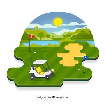 평면 스타일의 골프 코스 배경