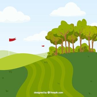フラットスタイルのゴルフコースの背景