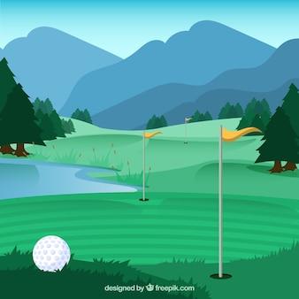 Поле для гольфа в плоском стиле