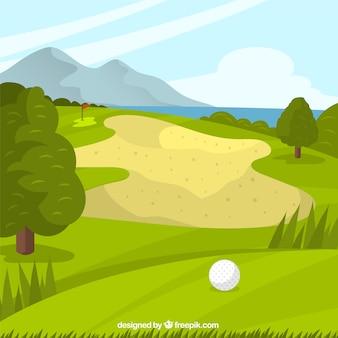 手で描かれたスタイルのゴルフコースの背景
