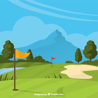 Поле для гольфа в ручном стиле