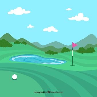 손으로 그린 스타일 골프 코스 배경