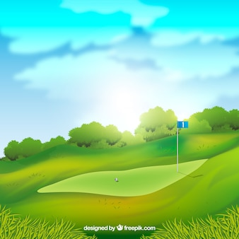Golf course background in realistic style