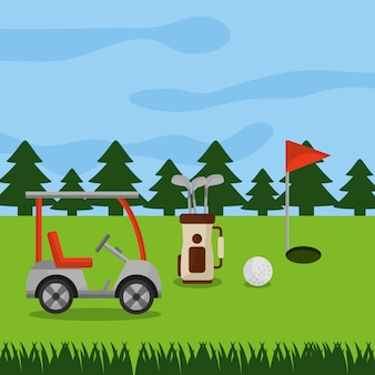 Golf course car sport bag clubs ball hole flag pine trees