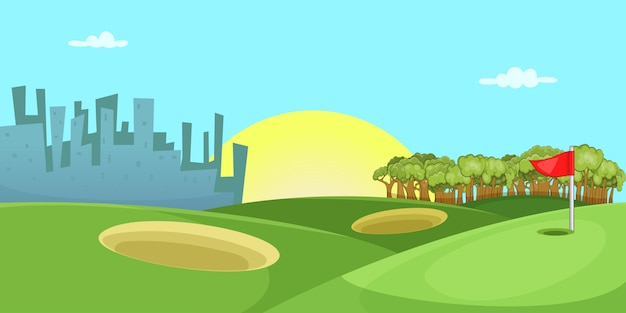 Golf course horizontal background, cartoon style