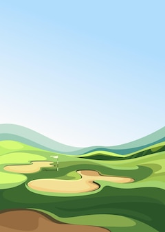 Golf course with sand traps. outdoor sport location in vertical orientation.