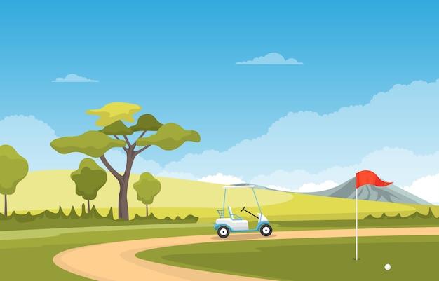 Golf field flag cart grass tree outdoor sport landscape
