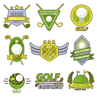 Golf game club tournament emblems vector banner