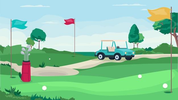 평면 만화 디자인의 골프 게임 필드 개념입니다. 공과 깃발을 위한 구멍이 있는 그린 필드, 골프 자동차, 클럽이 있는 가방. 대회 장소, 토너먼트, 스포츠. 벡터 일러스트 레이 션 가로 배경