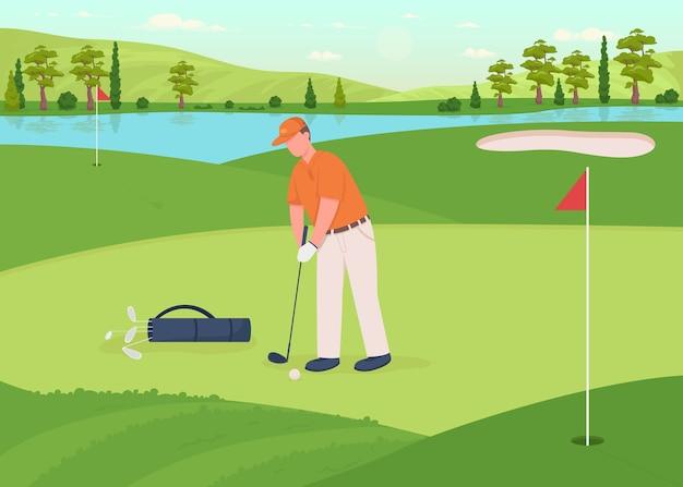 ゴルフゲームフラットカラーイラスト。ドライバークラブを持つプロ選手。男はボールを打った。トーナメントゲーム。アクティブなライフスタイル。背景にフィールド風景を持つ男性ゴルファー2d漫画のキャラクター