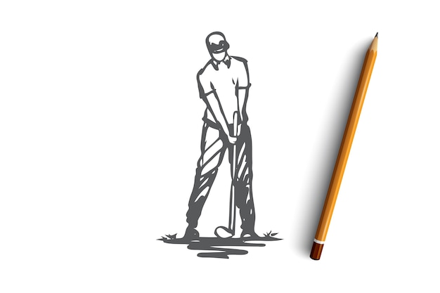 ゴルフ、ゲーム、プレーヤー、ゴルファー、ゴルフのコンセプト。ゲームのコンセプトスケッチの過程で手描きのゴルファー。図。