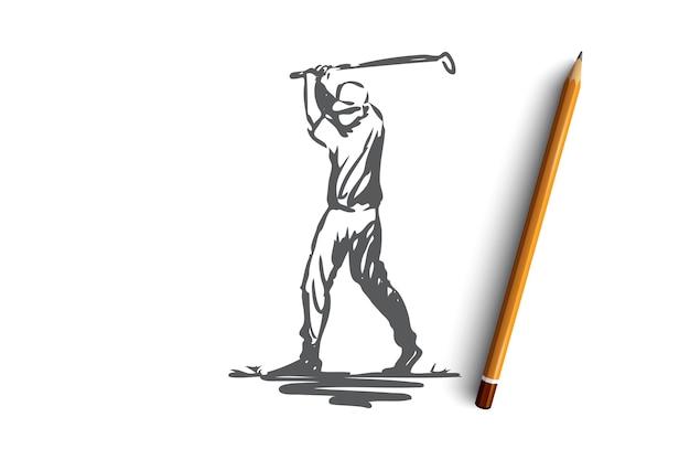 ゴルフ、ゲーム、トレーニング、スポーツ、ゴルフのコンセプト。アクションの概念スケッチで手描きのゴルフプレーヤー。図。
