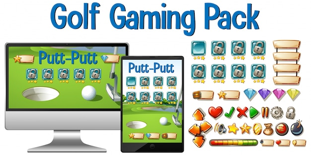 Golf gaming pack with computer tablet and button icons isolated