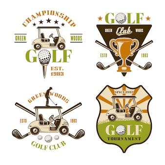 Golf and golfing set of vector emblems, badges, labels or logos. vintage colored illustration isolated on white background