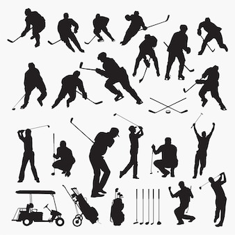 Golf hockey silhouettes
