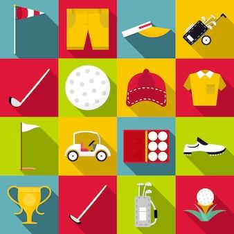 Golf icons set, flat style