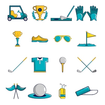 Golf icons set symbols