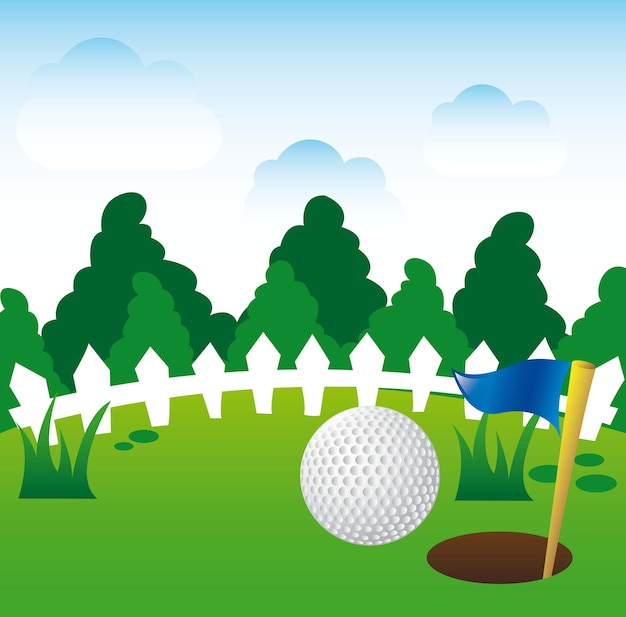 Golf illustration over landscape background vector illustration