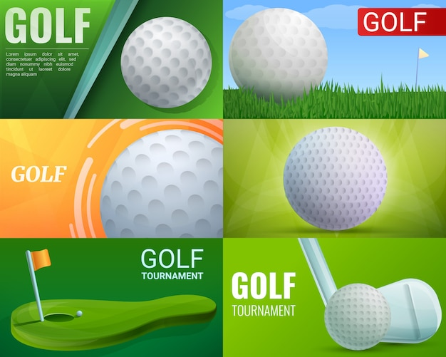 Golf illustration set on cartoon style