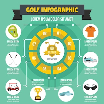 Golf infographic concept, flat style