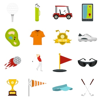 Golf items icons set in flat style