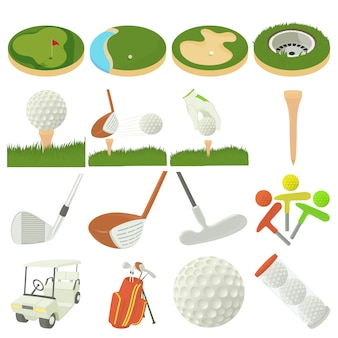 Golf items icons set