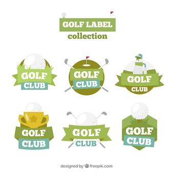 Коллекция этикеток для гольфа и значков в плоском стиле