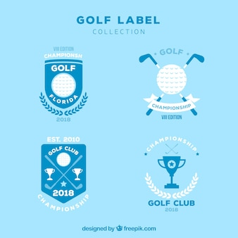 Golf labels collection in flat style
