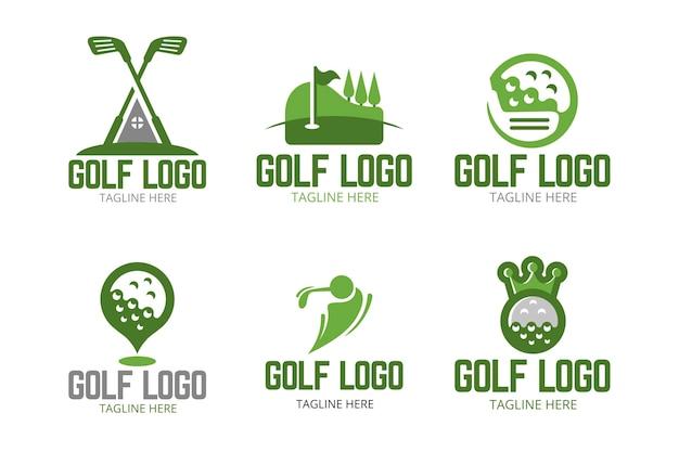평면 디자인의 골프 로고 컬렉션
