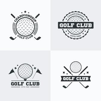 Коллекция логотипов гольфа в плоском дизайне