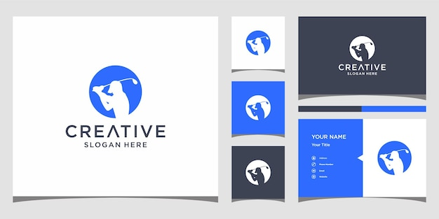 Golf logo design with business card template