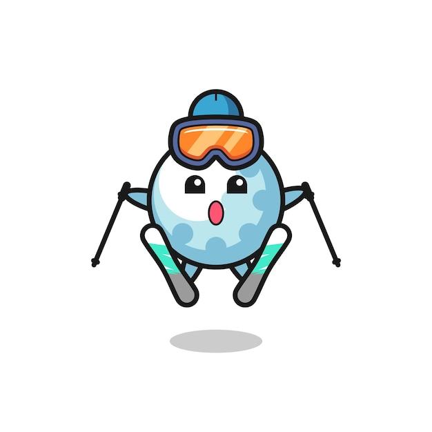 스키 선수로서의 골프 마스코트 캐릭터, 티셔츠, 스티커, 로고 요소를 위한 귀여운 스타일 디자인