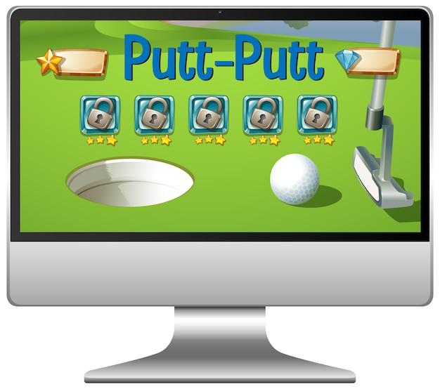Игра в гольф или патт на экране компьютера
