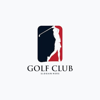 골프 선수 로고 디자인 벡터 템플릿입니다.