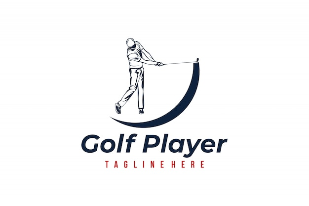 Golf player logo template