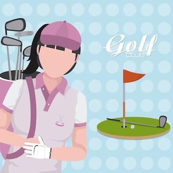 Golf player with club on camp cartoon