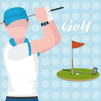 Golf player with club on camp cartoon