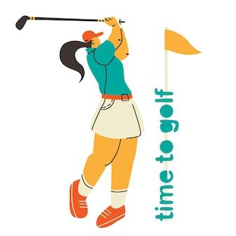Игрок в гольф женщина играет в гольф