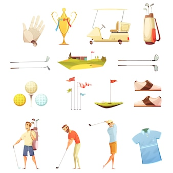 Golf players and accessories retro cartoon icons collection with putting flags gloves