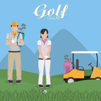 Golf players at camp cartoon